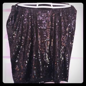 Plus Size, Black Sequin Mini Skirt